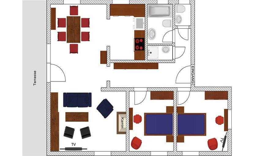 Apartment Bergspitz, unser 3 Raum Apartment im Erdgeschoss