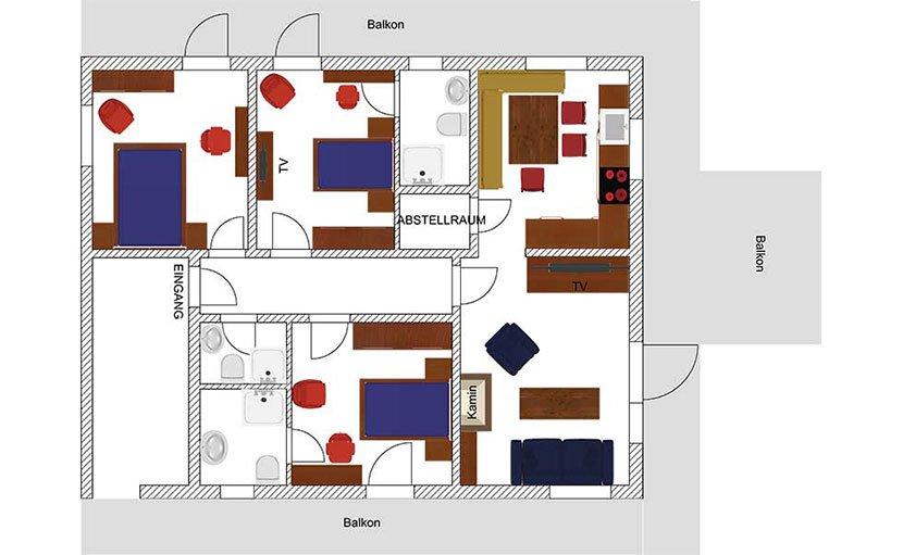 Apartment Hahnenkamm, unser 4 Raum Apartment im Obergeschoss